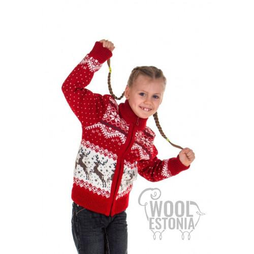Kid's full zip sweater with a deer