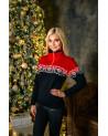 Шерстяной женский свитер. Вязаный свитер с подкладкой из флиса на коротнике. 100% шерсть