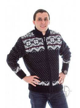 Man's full zip sweater with a star