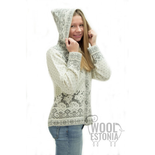 Woman's jacket with a deer, with a hood