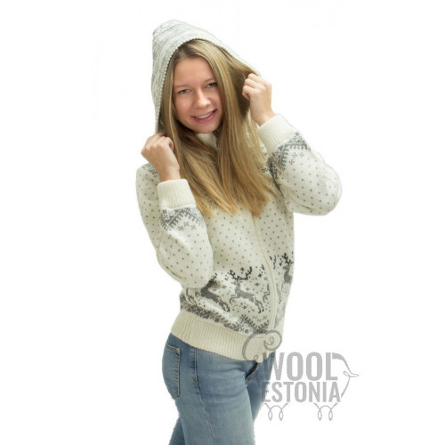 Woman's full-zip sweater with a deer, with a hood