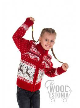 Kid's full zip sweater with a deer