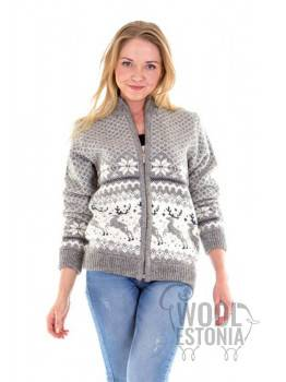 Woman's full zip sweater with a deer