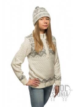 Женский свитер со звездой, на короткой молнии