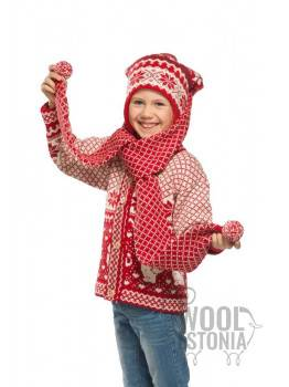 Teens hat-scarf with a star, with ears