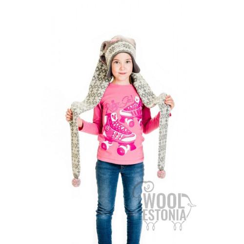 Шапка-шарф с кошками, с ушками