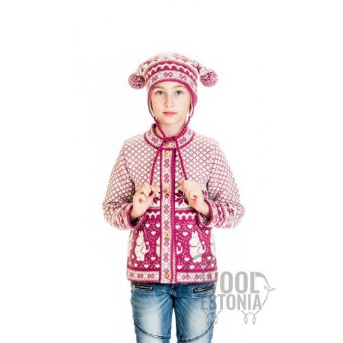 Детская зимняя шапка с двумя помпонами