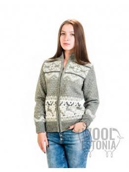 Женский свитер на молнии с оленем