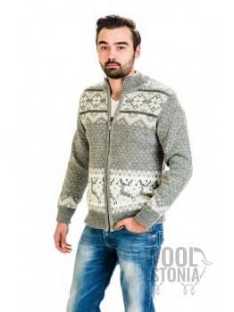Мужской свитер на молнии с оленем