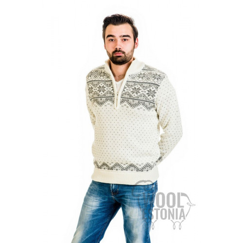 Мужской свитер со звездой на короткой молнии