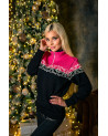 Womans sweater with fleece lining. Pink and black