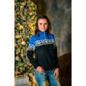 Women's Sweater with fleece lining. Blue and black