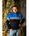 Шерстяной мужской свитер с узором. Воротник с подкладкой - флис. Короткая молния. Разные цвета