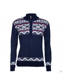 Men's blue half-zip sweater with a star