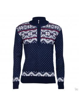 Мужской синий свитер со звездой на короткой молнии