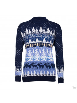 Men's  sweater with a forest. Dark blue