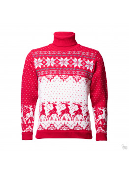 Men's  sweater with a deer, red, woolen sweater
