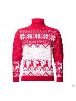 Мужской свитер с оленем красный