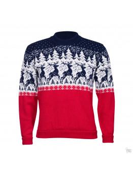 Мужской свитер с оленем,  красный с синим